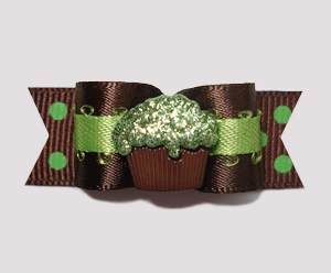 "#0698 - 5/8"" Dog Bow - Yummy Chocolate & Lime, Sparkly Cupcake"