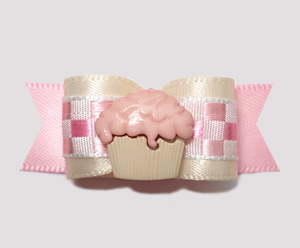 "#0701 - 5/8"" Dog Bow - Baby Sweet, Soft Pink Check, Cupcake"