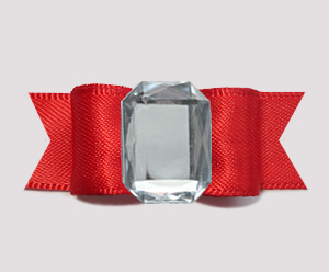 "#0707 - 5/8"" Dog Bow - Bling Fun, Classic Red Satin"