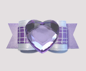"#0718 - 5/8"" Dog Bow - Bling Fun, Sweet Purple & White Check"