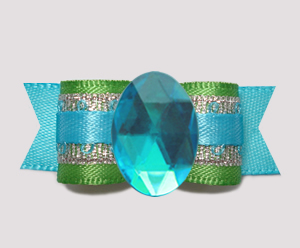 "#0725 - 5/8"" Dog Bow - Bling Fun, Green/Silver/Electric Blue"