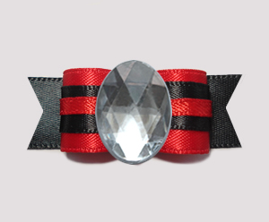 "#0727 - 5/8"" Dog Bow - Bling Fun - Red & Black w/Sparkly Oval"