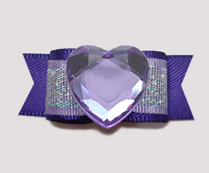 "#0728 - 5/8"" Dog Bow- Bling Fun, Rich Purple with Shimmer, Heart"