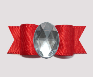 "#0734 - 5/8"" Dog Bow - Bling Fun, Classic Red Satin, Oval Bling"