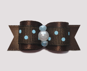 "#0738 - 5/8"" Dog Bow - Chocolate Brown with Sweet Blue Dots"