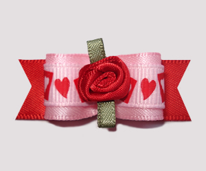 "#0739 - 5/8"" Dog Bow - Sweetheart Bow, Pink/Red, Red Rosette"