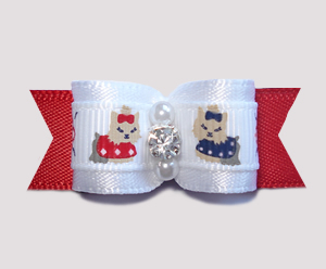 "#0741 - 5/8"" Dog Bow - Sweet Little Yorkies, Angelic White w/Red"