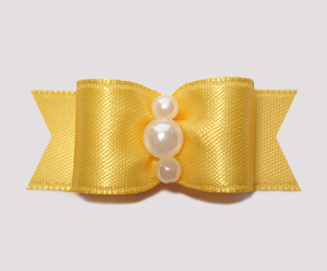 "#0746 - 5/8"" Dog Bow - Satin, Golden Yellow, Faux Pearls"