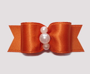 "#0748 - 5/8"" Dog Bow - Satin, Burnt Orange, Faux Pearls"