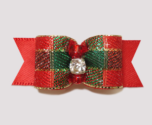"#0750 - 5/8"" Dog Bow - Sparkly Festive on Red, Rhinestone"