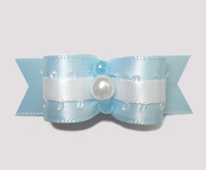 "#0752 - 5/8"" Dog Bow - Baby Blue & White with Pearl"