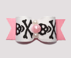 "#0756 - 5/8"" Dog Bow - Girly Skull & Xbones, Black/White/Pink"