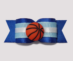 "#0757 - 5/8"" Dog Bow - Basketball, Blue/White"