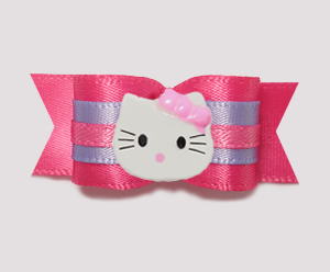"#0758 - 5/8"" Dog Bow - Hot Pink & Lavender, Little Kitty"