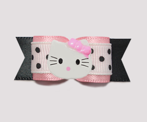 "#0759- 5/8"" Dog Bow- Cute Baby Pink on Black, Dots, Little Kitty"