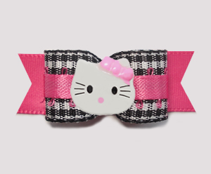 "#0760 - 5/8"" Dog Bow - Adorable Gingham, Hot Pink, Little Kitty"