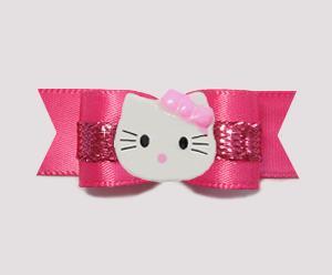 "#0763 - 5/8"" Dog Bow - Hot Pink Satin with Sparkle, Little Kitty"
