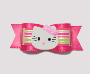 "#0764- 5/8"" Dog Bow - Green/Hot Pink Retro Pattern, Little Kitty"