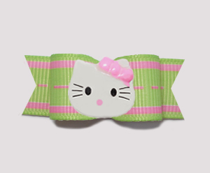 "#0765 - 5/8"" Dog Bow - Lime & Pink Delight, Little Kitty"