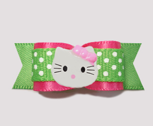 "#0767- 5/8"" Dog Bow- Pink, Summer Green, Cute Dots, Little Kitty"