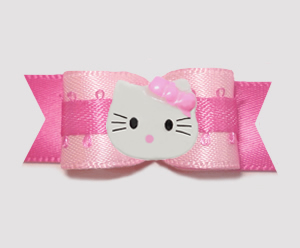 "#0771 - 5/8"" Dog Bow - Pretty in Pink, Little Kitty"