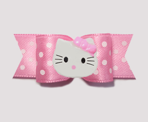 "#0772- 5/8"" Dog Bow- Little Sugar, Pink/White Dots, Little Kitty"