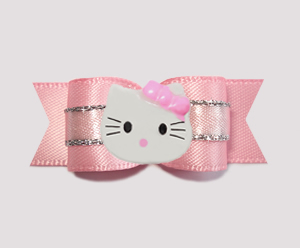 "#0776 - 5/8"" Dog Bow - Princess Soft Pink & Silver, Little Kitty"