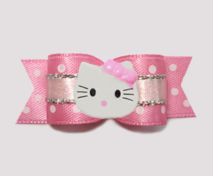 "#0777- 5/8"" Dog Bow- Sweet Sugar Princess w/Silver, Little Kitty"