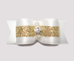 "#0782 - 5/8"" Dog Bow- Angelic White & Gold, Sparkling Rhinestone"
