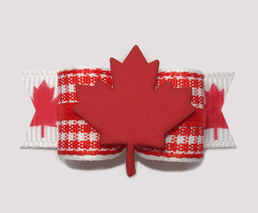 "#0786 - 5/8"" Dog Bow - Canada - Red & White Gingham, Maple Leaf"