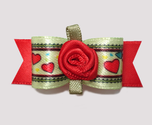 "#0794 - 5/8"" Dog Bow - For My Love, Sweet Hearts & Red Rosette"
