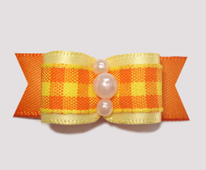 "#0804- 5/8"" Dog Bow - Fall Delight, Candy Corn Plaid, Yellow/Org"