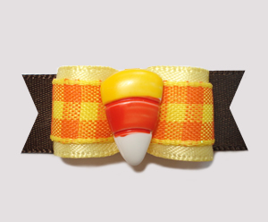 "#0805 - 5/8"" Dog Bow - Fall Delight, Plaid, Sweet Candy Corn"