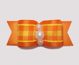 "#0806- 5/8"" Dog Bow-Fall Delight, Candy Corn Plaid, Orange Satin"