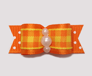"#0807- 5/8"" Dog Bow- Fall Delight, Candy Corn Plaid, Orange Dots"