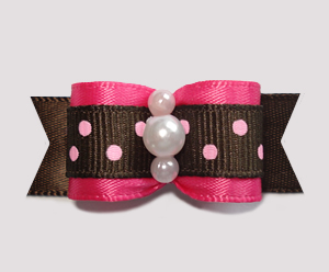 "#0810 - 5/8"" Dog Bow - Hot Pink/Chocolate, Sweet Dots"