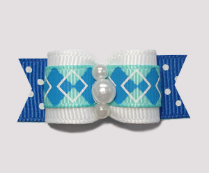 "#0814 - 5/8"" Dog Bow - Preppy Argyle on Dots, Faux Pearls"