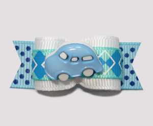 "#0816 - 5/8"" Dog Bow - Preppy Argyle with Blue VW Bug"