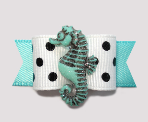 "#0820 - 5/8"" Dog Bow - Sweet Seahorse, White/Black Dots w/Teal"