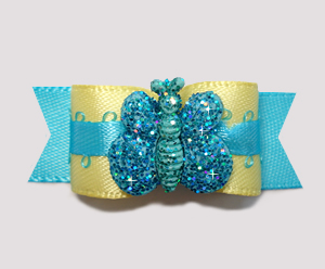 "#0821 - 5/8"" Dog Bow- Delightful Yellow w/Blue Sparkle Butterfly"