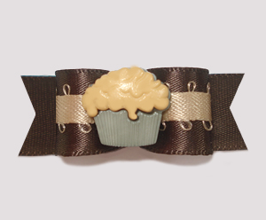 "#0822 - 5/8"" Dog Bow - Yummy Chocolate & Caramel Cupcake"