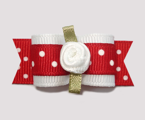 "#0833 - 5/8"" Dog Bow - Adorable Red & White Dots, White Rosette"