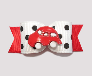 "#0837 - 5/8"" Dog Bow - Chic Black/White Dots, Stylin' Red Car"