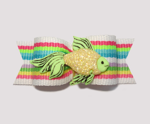 "#0838 - 5/8"" Dog Bow - Sparkly Fish, Bright Cool Stripes"