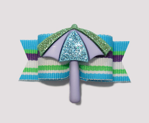 "#0840 - 5/8"" Dog Bow - Beach Towel Umbrella, Blue/Green Stripe"