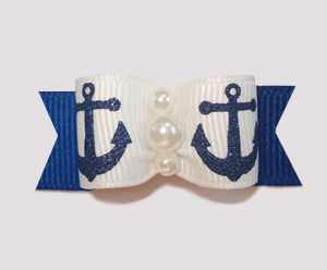 "#0844 - 5/8"" Dog Bow - Sparkly Navy Anchors on Blue"