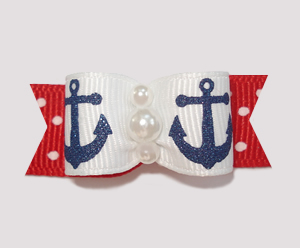 "#0845 - 5/8"" Dog Bow - Sparkly Navy Anchors on Red/White Dots"
