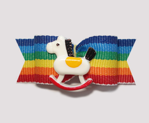 "#0846 - 5/8"" Dog Bow - Fun, Bold Stripe, Sweet Rocking Horse"
