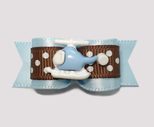 "#0847- 5/8"" Dog Bow - Fun Helicopter, Pale Blue with Brown"