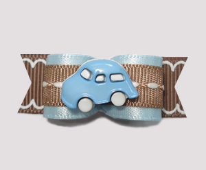 "#0848- 5/8"" Dog Bow - Vroom Vroom Blue Car, Blue & Cool Brown"